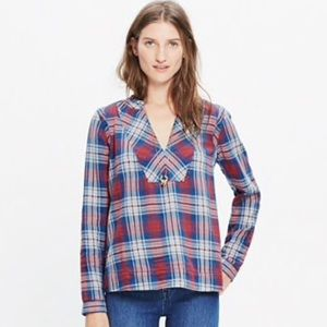 Madewell indigo dyed popover shirt Casey plaid med